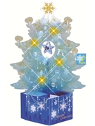 Crystal Blue Christmas tree Lights and 20 Melodies Pop Up Greeting Card