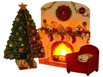 Flickering Fireplace Lights and Melody Pop Up Christmas Card