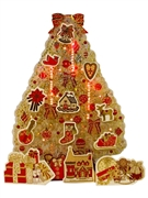 Illuminated Golden Christmas Tree Lights and 3 Melodies Pop Up Card