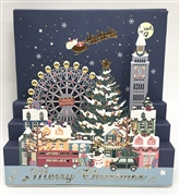 Laser Cut Christmas Cityscape Lights and Music Pop Up Card