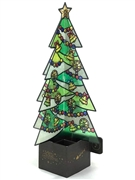 Stained Glass Evergreen Christmas Tree Lights and Melody Pop Up Card