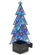 Stained Glass Winter Blue Christmas Tree Lights and Melody Pop Up Card
