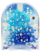 Snowing Blue Tree Lights and Music Box Pop Up Decorative Card