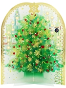 Snowing Green Tree Lights and Music Box Pop Up Decorative Card