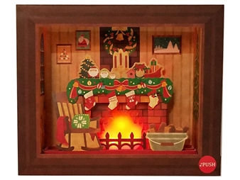 Decorative Christmas Fireplace Lights and Melody Pop Up Card