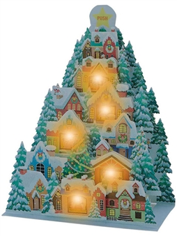 Illuminated Christmas Winter Village Lights and 20 Melodies Pop Up Card