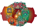 Illuminated Christmas Wreath Lights and Melody Pop Up Card