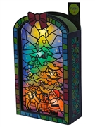 Illuminated Christmas Stained Glass Style Lights and Melody Pop Up Card
