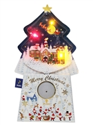 Snowing in the Christmas Night Sky Lights and Music Decorative Card