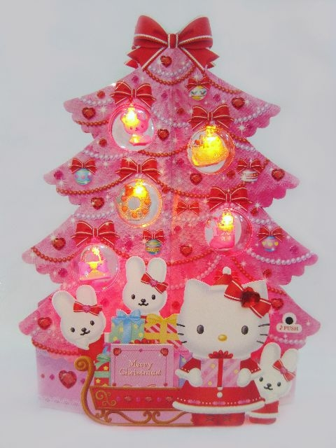 Hello Kitty Pink Christmas Tree Lights  Melody Pop Up Greeting