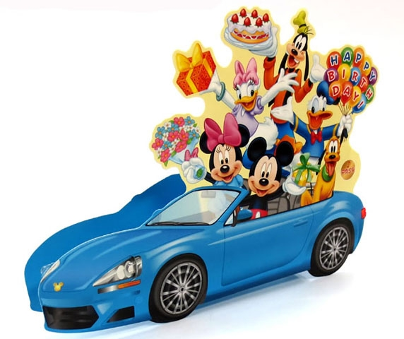 Disney Pop Up Blue Car With Flashing Lights Blinks To Happy Birthday