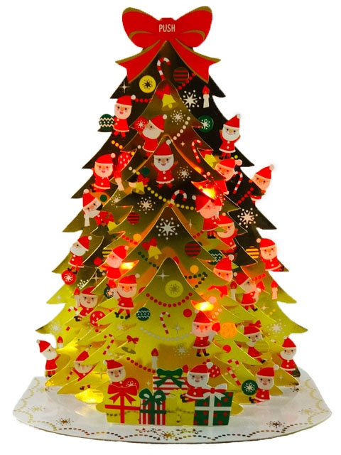 santa claus golden christmas tree lights 20 melodies pop up greeting card - Pop Up Christmas Tree With Lights And Decorations