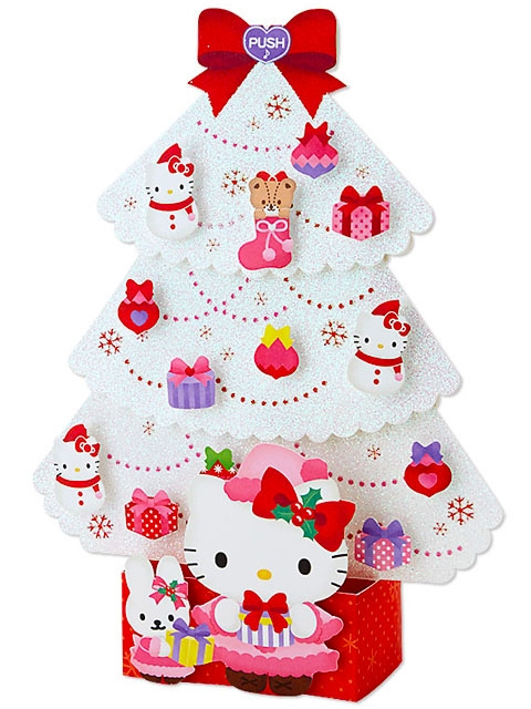 Hello Kitty White Christmas Tree Lights 20 Melodies Pop Up Greeting Card