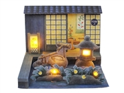 Night Japanese Garden Lights and Sounds Pop Up Greeting Card