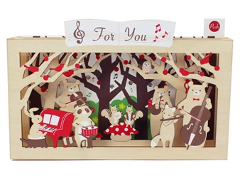Wooden Forest Animals Music Band Lights and 15 Classical Melody Pop Up Card