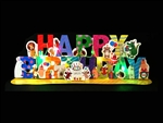 Happy Birthday Animal Party Garland Lights and Melody Pop Up Card
