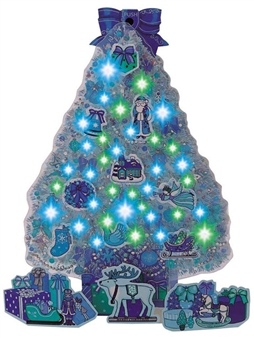 Sparkling Blue Illuminated Christmas Tree With Gifts Lights and Melody Pop up Greeting Card