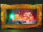 Illuminated Golden Frame Holiday Gathering Lights and Melody Christmas Pop Up Greeting Card