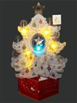 Crystal White Christmas tree Lights and 20 Melodies Pop Up Greeting Card