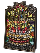 Happy Birthday Stained Glass Lights and Melody Decorative Greeting Card