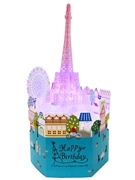 Laser Cut Happy Birthday Eiffel Tower Lights and Melody Pop Up Card