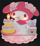 Soft and Fluffy My Melody Happy Birthday Lights and Melody Pop Up Card