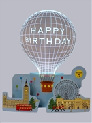 Happy Birthday Acrylic Lighted Balloon W/ 2 Melodies 3D Pop Up Greeting Card