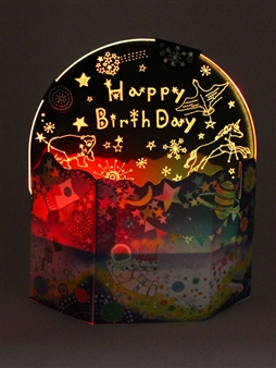 Happy Birthday Star Studded Lights and Melody Pop Up Card