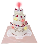Laser Cut Triple Layer Birthday Cake Lights and Music Pop Up Card