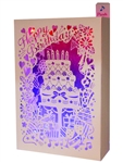 Laser Cut Happy Birthday Cake Lights and Melody Pop Up Box Greeting Card