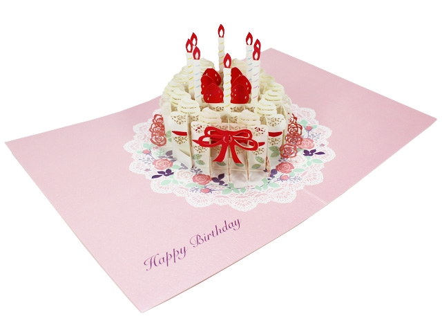 Happy Birthday Laser Cut Cake Pop Up Greeting Card Premium Greeting