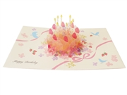 Happy Birthday Crystal Laser Cut Cake Pop Up Greeting Card