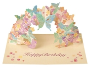 Laser Cut Adorable Butterfly Pop Up Happy Birthday Card