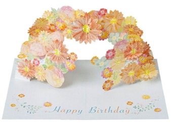 Laser Cut Adorable Floral Pop Up Happy Birthday Card