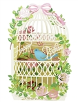 Laser Cut Birdcage Happy Birthday Pop Up Birthday Card