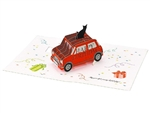 Happy Birthday Laser Cut Red Car w/ Cat Pop Up Greeting Card