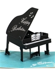 Decorative Laser Cut Baby Grand Piano Pop Up Happy Birthday Card