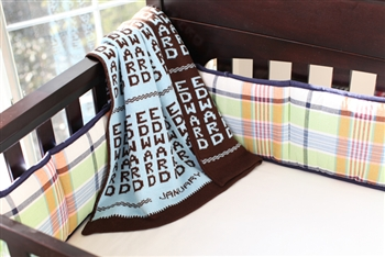 Baby Blanket - Brown and Light Blue