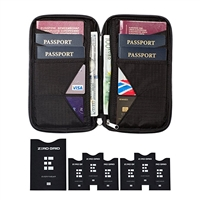 Travel Wallet & Family Passport Holder w/ RFID Blocking- Document Organizer Case