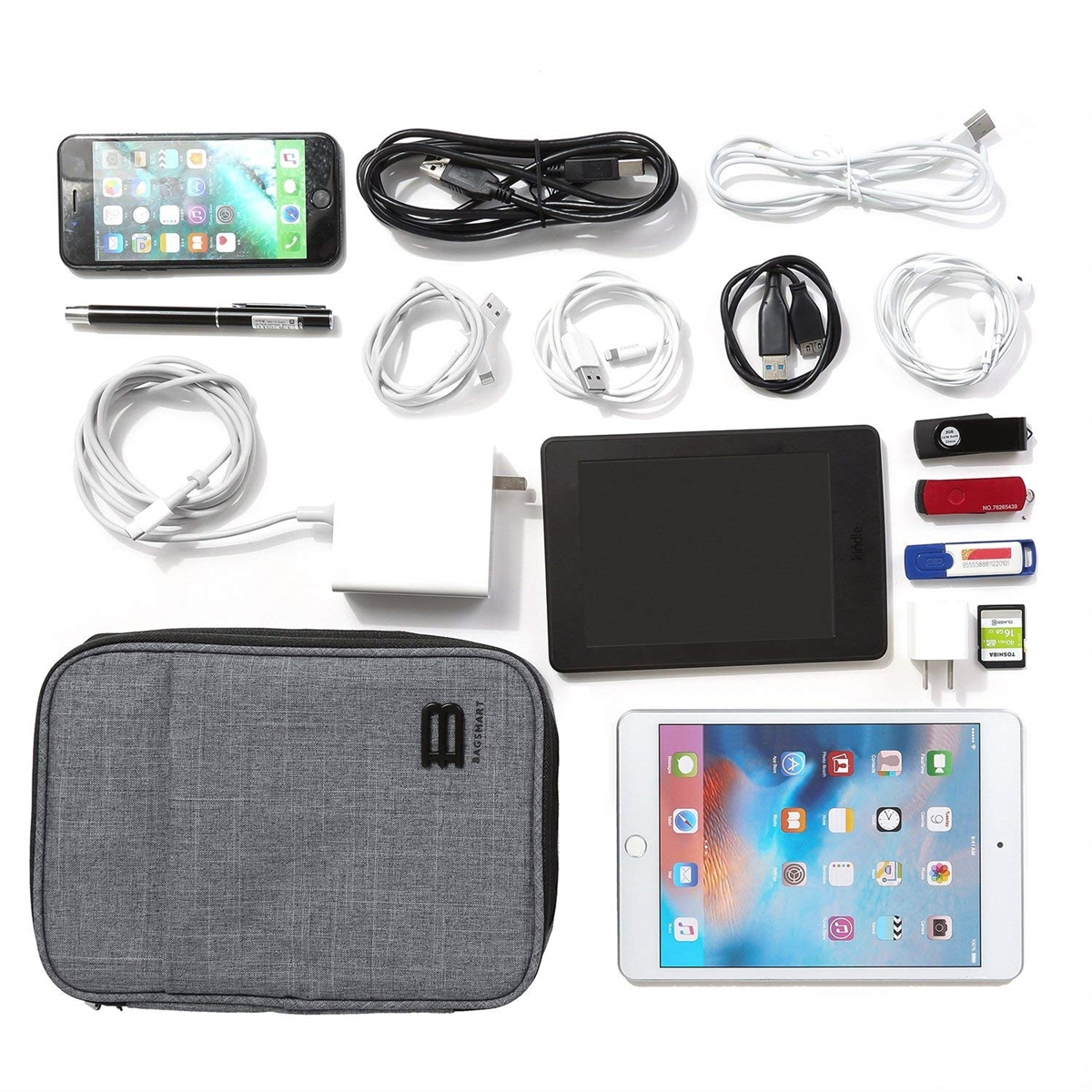 Charger Ipad Mini Tablet Waterproof Travel Electronic Accessories Case Portable Double Layer Cable Storage Bag for Cord SD Card Phone Flash Drive Power Bank Matein Electronics Organizer Black