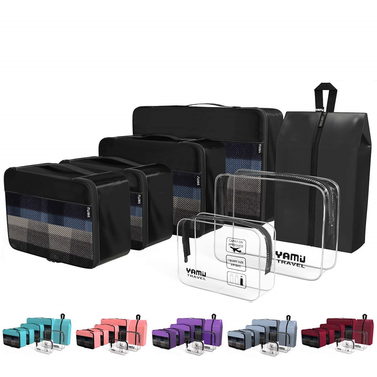 46d80f5ae8a3 YAMIU Packing Cubes 7-Pcs Travel Organizer Accessories with Shoe Bag & 2  Toiletry Bags(Black)