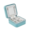 Vlando Small Travel Jewelry Box Organizer - Refined Carry-on Jewelries Storage Case Rings Earrings Necklace (Blue - w/Mirror)