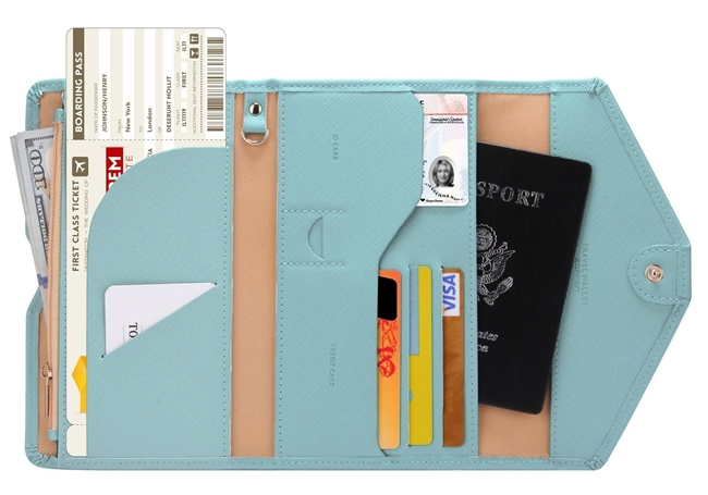 Zoppen Multi-purpose Rfid Blocking Travel Passport Wallet (Ver.4) Tri-fold Document Organizer Holder, 23 Paradise Blue