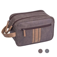 Travel Toiletry Bag for Men, Vancase Vintage Leather Dopp Kit, Large Waterproof Shaving bags, Portable Bathroom Organizer with Connected Zipper Puller (Brown)