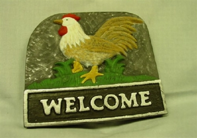 Rooster Welcome Plaster Concrete Mold 7054