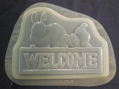 Welcome rabbit concrete or plaster mold 7260