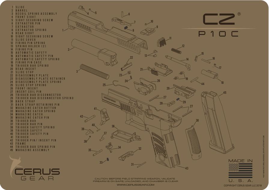 Cerus Gear Pistol Mat For Cz P10c Schematic Promat Coyote Brown