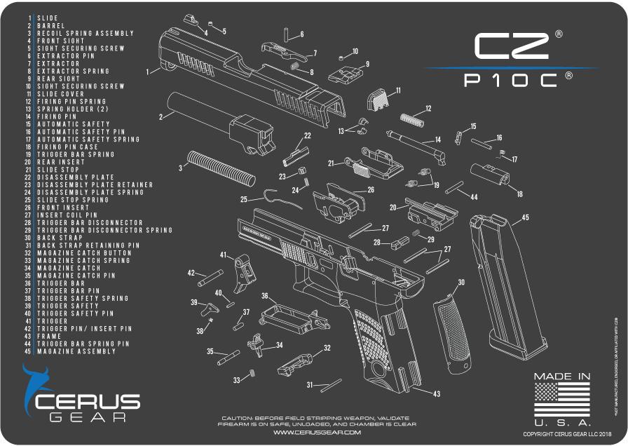 Cerus Gear Pistol Mat For Cz P10c Schematic Promat Grey Blue