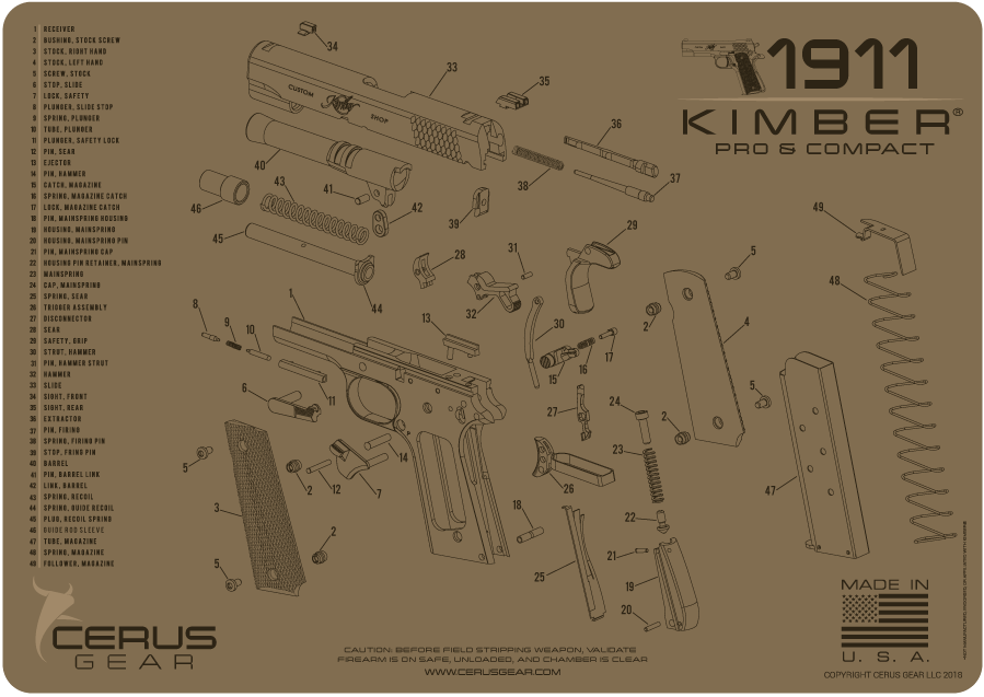 Cerus Gear Pistol Mat For Kimber 1911 Schematic Promat Coyote Brown