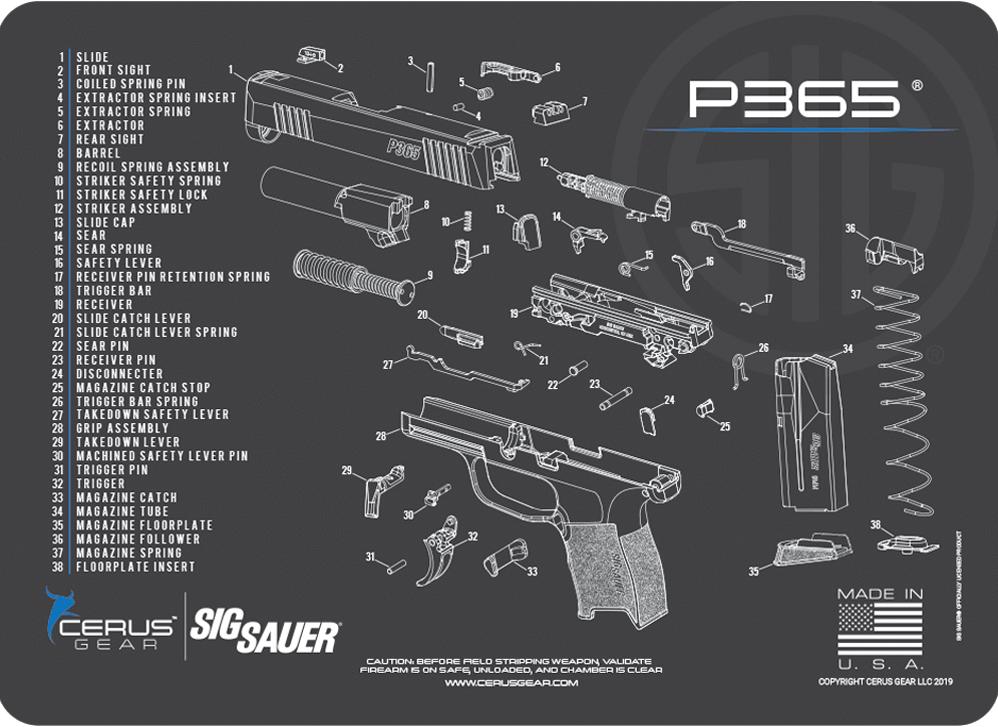 Cerus Gear Pistol Mat for Sig Sauer P365 Schematic Promat Grey Blue